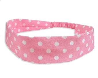 "Fabric Headband - Candy Dot- Pick your size - fit toddlers to adults - 1-1/2"" wide"