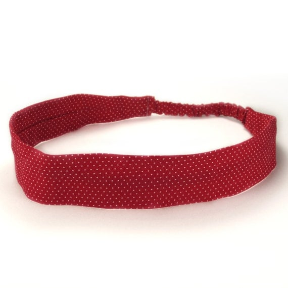 Red Christmas Dot Fabric Headband - SALE - only large size remains