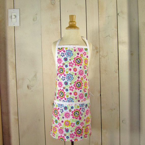 Peace Daisy Toddler Apron - Reversible Apron, full apron, apron with pockets by Lucky Ducky Designs