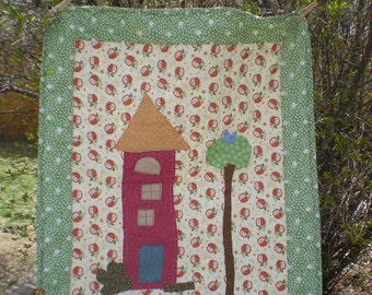 Tall apple tree baby toddler quilt