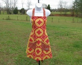 Gold and Rose-Burgundy Apron - adult size - by Happy Campers of the South (APR022)