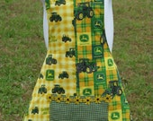 John Deere apron - girl child size - yellow, green - by Happy Campers of the South (APR002)