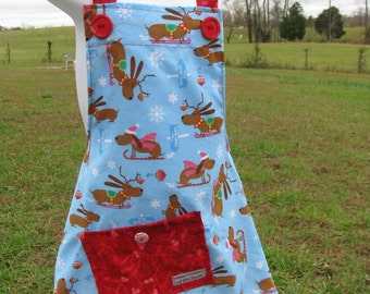 Christmas apron - fun jolly festive - child size - Dachshunds - by Happy Campers of the South (APR011)
