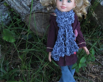 Soft Hand-knit Mini Scarf - great for 16 - 18 inch dolls, stuffed animals, pets, children, girls - by Happy Campers of the South (SCRF025)