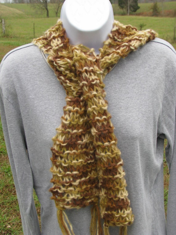 Caramel Mocha Hand Knit Scarf - light browns and tans - by Happy Campers of the South (SCRF007)