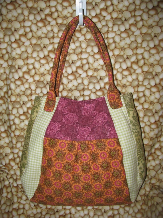 SALE - Unique Handbag - rose pink, green, orange (HB025) by Happy Campers of the South