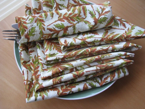 Fabric Napkins - cloth, eco-friendly, set of 6, autumn, 16 x 16 inches by Happy Campers of the South (030)