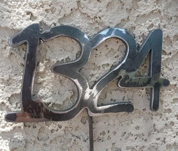 Custom Metal Address numbers set of 4 Outdoor home decor