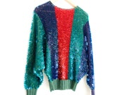 1980s Sequin Sweater Red Teal and Blue
