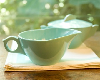 Mid Century Sugar Bowl and Creamer Turquoise Melamine