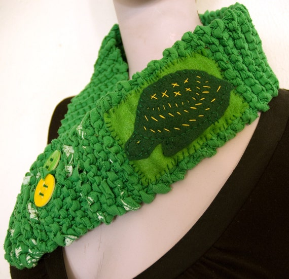 Green turtle scarf recycled t shirt knit by spiderbot on etsy for Green turtle t shirts review