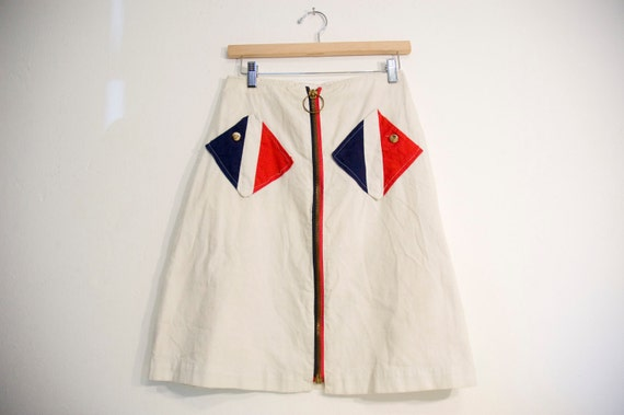 60s Mod Vintage Nautical Skirt Red White and Blue