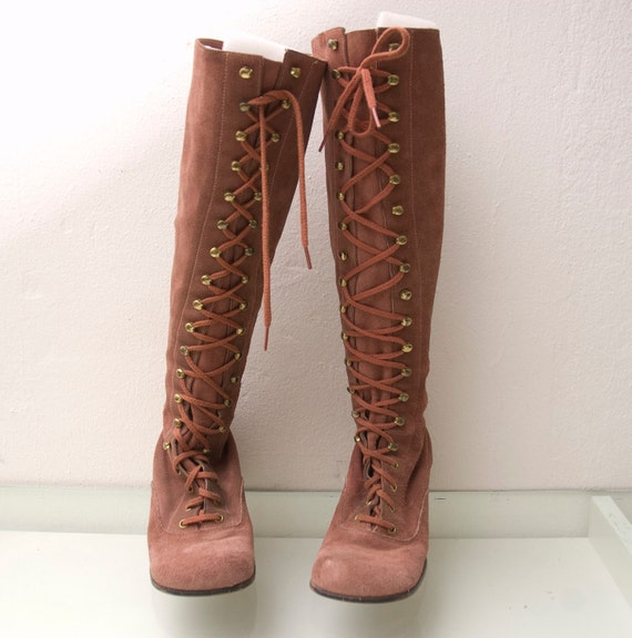 60s Mod Go Go Boots Suede Dusty Rose