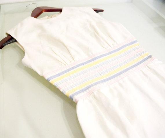 60s Mod Sundress White Pastel Ribbons