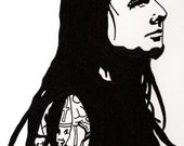Jonathan Davis of KoRn Original Ink Drawing