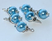 Handmade Bead Drops Charms Dangles Wire Wrapped  Swarovski Crystal  Blue Pearls