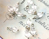 Bead Dangles Frosted Matte Heart Charms pendants jewelry Making supplies swarovski crystals