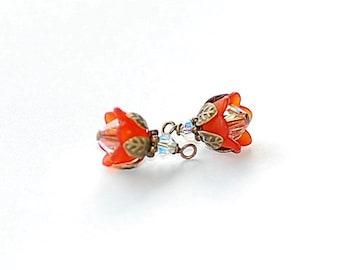 Tangerine Lucite Blossom Charms