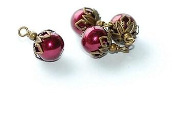 Free Ship Vintage Raspberry Pearls