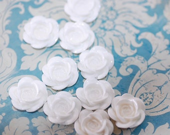 White Rose Cabochons plastic flowers posie jewelry making