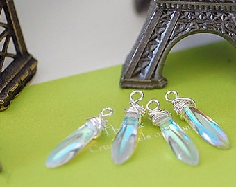 Bead dangles  White opal Dagger Charms 4 pc jewelry making