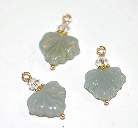 Free Ship Opal Green Maple Leaf Charms