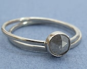 Grey Rose Cut Diamond Wedding Set RESERVED