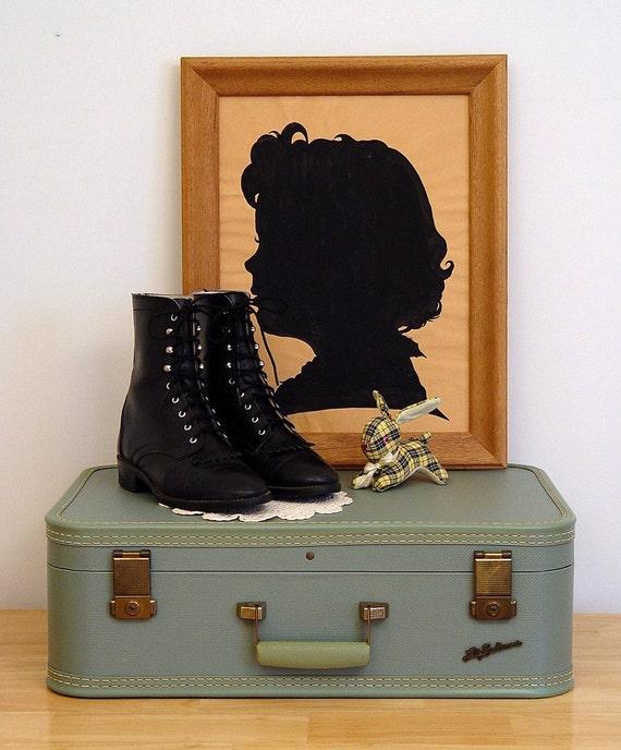 Vintage 80s Black Leather LAREDO Roper Boots FRINGE M 5.5 W 7 7.5