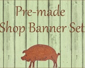 Premade Etsy Shop Banner & Avatar Set  - Rusty Pig