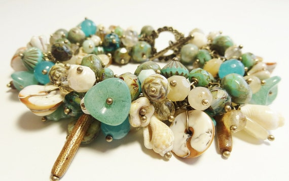 Summer Beach Bracelet Sea Shells and Gemstones Bracelet Blues and Greens of the Sea