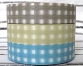 japanese classiky masking tape 3 piece mixed set - 13mm by 15m by 3 rolls -K- gingham