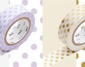 mt washi masking tape - large dots-light wisteria/purple and gold