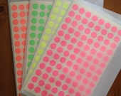 Neon stickers - A-one Label stickers - shocking green, pink, yellow and orange dots -