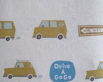 puti de pome - drive a go go - yellow - japanese linen blend fabric - half a metre