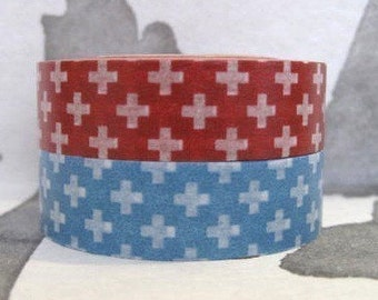 SALE 50 % off - discontinued japanese deco masking tape - set of 2 - cross -red and blue