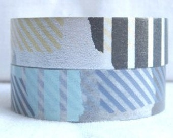 SALE - 50% off - discontinued - mt deco japanese masking tape - set of 2 - tsugihagi -patch a x b