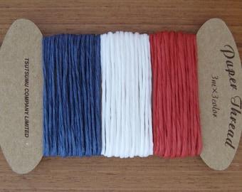 paper thread - tri colour - 3m x 3 colours