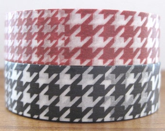 SALE 50% off - discontinued mt deco japanese masking tape - set of 2 - houndstooth check - red and black