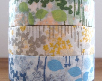 japanese masking tape set of 3 - little garden
