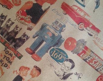 vintage print kraft paper bags - set of 20 - small