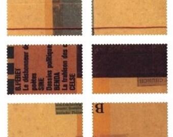 SALE 50% off - Collage - Craft Log's x Classiky - sticker stamp set B - 6pcs