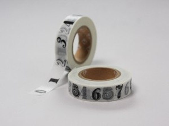 NEW - MT number washi tape - black and white