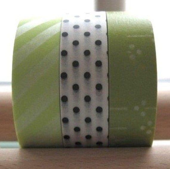 japanese washimatta masking tape set of 3 - green and dots