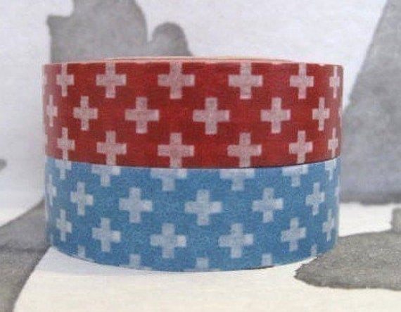 SALE - japanese deco masking tape - set of 2 - cross -red and blue