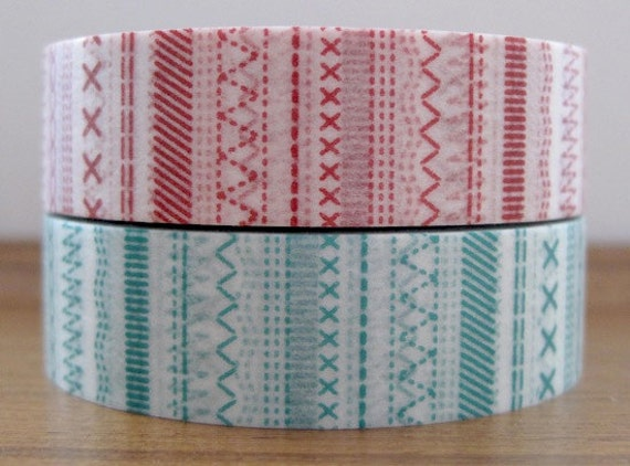mt deco japanese masking tape - set of 2 - stitch - red and green