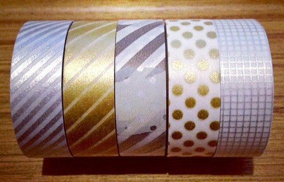 mt masking tape - gold and silver - set of 5