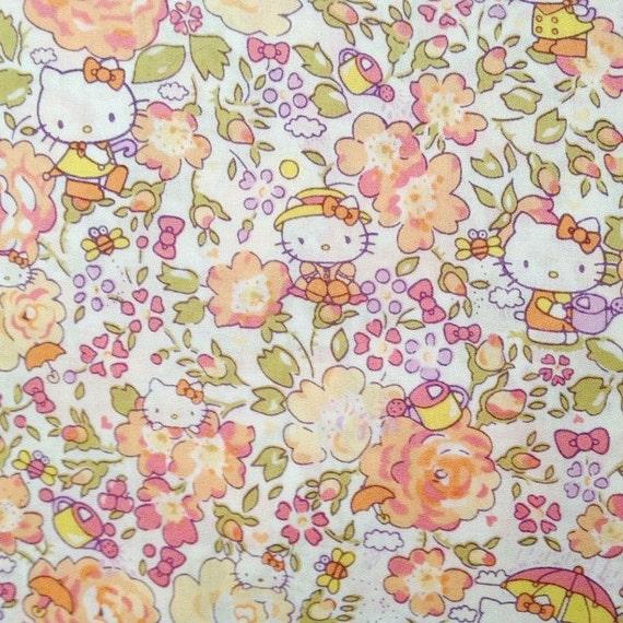 rare find- hello kitty x liberty of london art fabric - season 3 - felicite - fat quarter - apricot orange