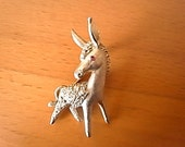Vintage Trifari Signed Brooch Pin Donkey