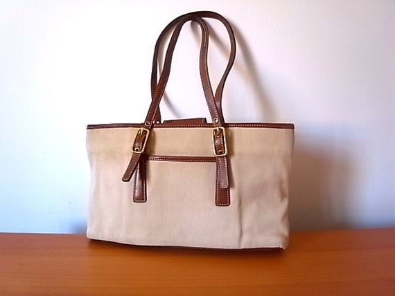 Vintage Coach Twill Fabric And Leather Tote
