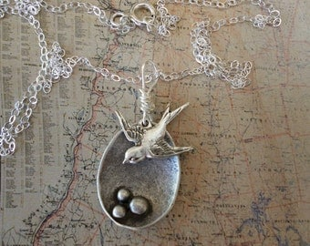 Bird Nest WITH MAMA Bird Necklace Silver